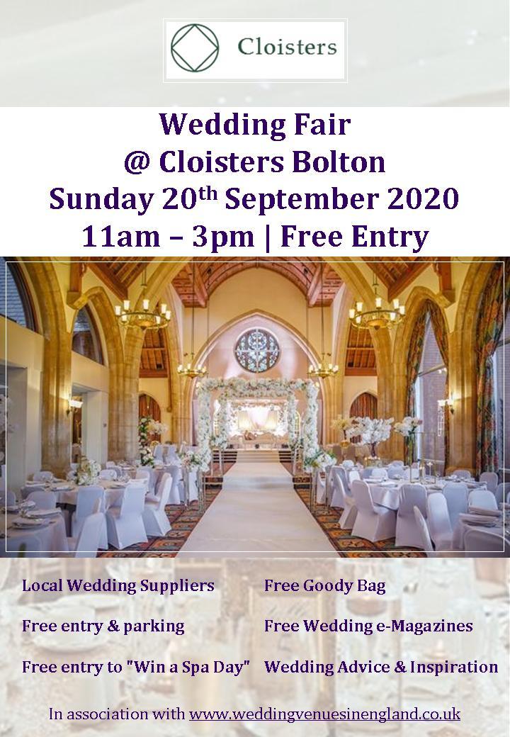 Cloisters Bolton Wedding Fair Flyer 20th September