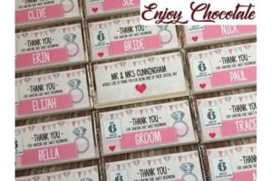 enjoy chocolate wedding favours