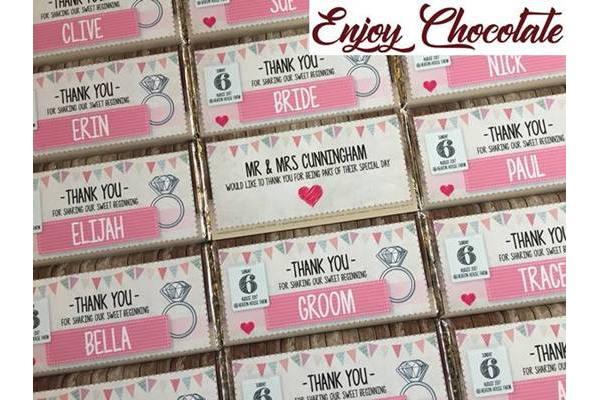 enjoy chocolate wedding favours